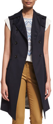 Veronica Beard SoCal Stretch Trench Vest, Navy $495 thestylecure.com
