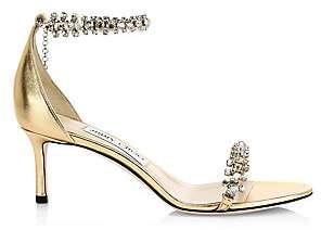 Jimmy Choo Women's Shiloh Metallic Leather Crystal Sandals
