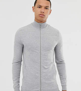 Asos Design DESIGN Tall jersey muscle track jacket in grey marl