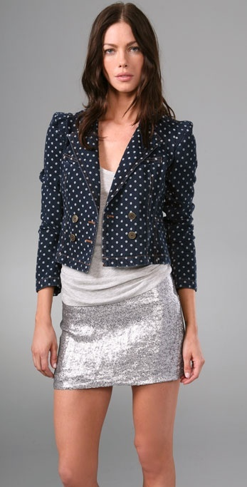 Rebecca Taylor Denim Dot Double Breasted Jacket