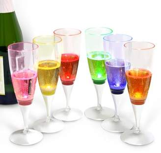 clear INNOKA [LED Champagne Flute Plastic Glass Like Champagne Flute (Set of 6 Multi-Color) LED Light Up Wine Champagne Liquid Activated Perfect for Wedding Party Pool Toasting Special Occassions
