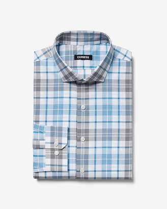 Express Slim Plaid Print Dress Shirt
