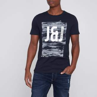 River Island Mens Navy Core print T-shirt