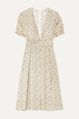Faithfull The Brand Farah Floral-print Crepon Midi Dress - Pastel yellow