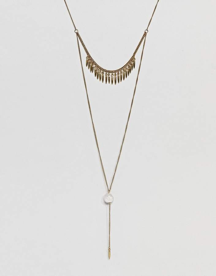 DESIGN Spike And Stone Multirow Necklace