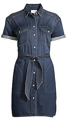 Current/Elliott Women's The Flint Tie-Belt Denim Shirtdress
