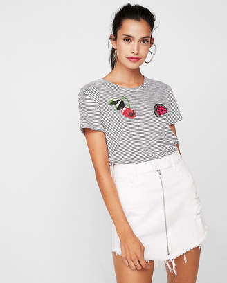 Express One Eleven Sequin Striped Tee