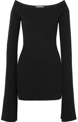 SOLACE London Eila Ribbed-knit Cotton-blend Mini Dress - Black