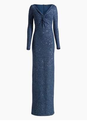 St. John Luxe Sequin Tuck Knit V-Neck Gown