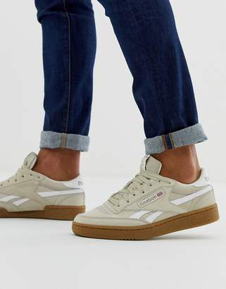 Reebok revenge plus suede sneakers with gum sole