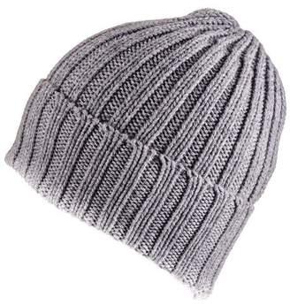 Black Grey Chunky Rib Knit Cashmere Beanie