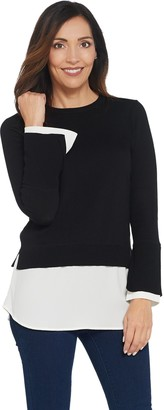 Vince Camuto Long Sleeve Crew Neck Sweater w/ Soft Texture Hem
