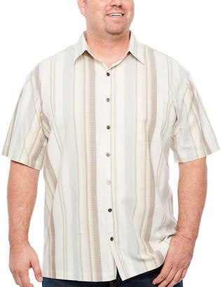 Van Heusen Air Cotton Rayon Short Sleeve Stripe Button-Front Shirt-Big and Tall