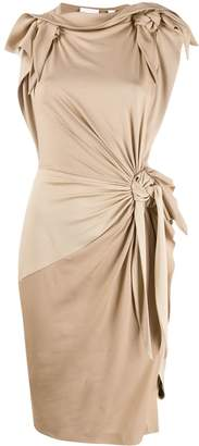 Burberry knot detail fitted dress