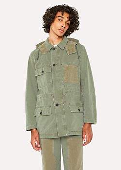 Paul Smith Men's Washed Khaki Patchwork Cotton Red Ear Parka