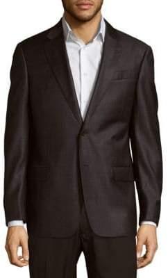 Armani Collezioni Classic Fit Plaid Virgin Wool Sportcoat