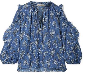 Ulla Johnson Manet Floral-print Cotton And Silk-blend Blouse - Blue