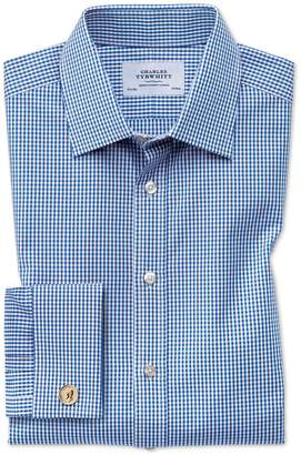 Charles Tyrwhitt Classic Fit Small Gingham Navy Blue Cotton Dress Shirt French Cuff Size 16/33