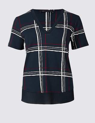 Marks and Spencer Checked V-Neck Short Sleeve Top