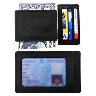 a4d9693925 Leather Centric Slim RFID Blocking Minimalist Front Pocket Wallet for Men  with Magnetic Money Clip (