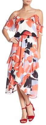 Parker Kam Asymmetrical Cold Shoulder Silk Dress