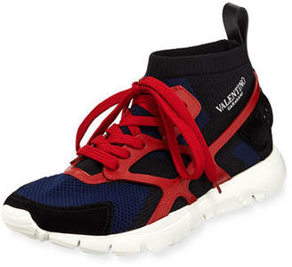 Valentino Men's Sock-Knit Lace-Up Caged Sneakers