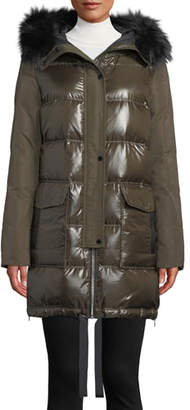 Derek Lam 10 Crosby Hooded Puffer Combo Parka Coat w/ Fur Trim