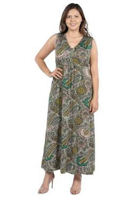 24/7 Comfort Apparel 24Seven Comfort Apparel Zooey Empire Waist Plus Size Maxi Dress