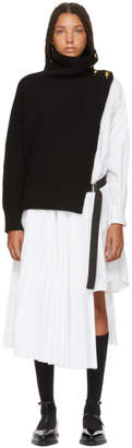 Sacai Black and White Knit Shirting Combo Dress