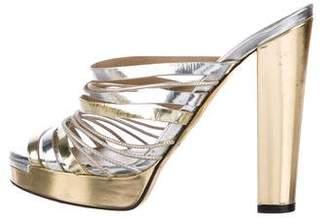 Fendi Metallic Leather Sandals