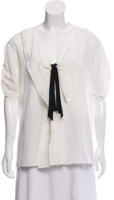 Miu Miu Silk Bow-Accented Blouse