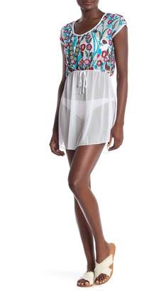 Jordan Taylor Floral Embroidered Mesh Tunic Cover-Up