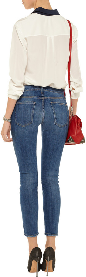 Current/Elliott The Stiletto patched skinny jeans