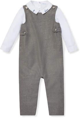 Ralph Lauren Wool Overalls w/ Train Embroidery Bodysuit, Size 6-24 Months