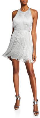 Herve Leger High-Neck Foiled Fringe Mini Dress