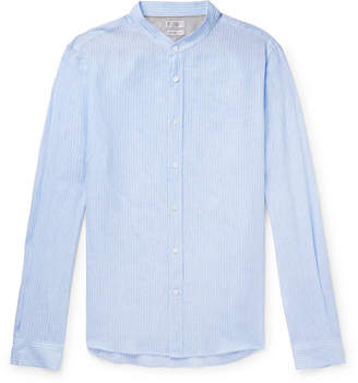 Brunello Cucinelli Grandad-Collar Striped Linen Shirt - Men - Blue