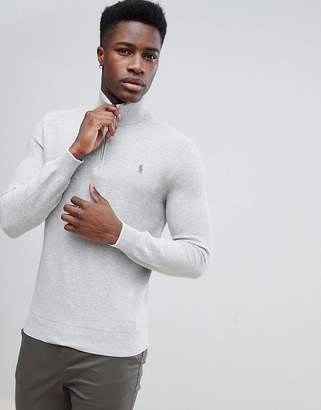 Polo Ralph Lauren Texture Pima Cotton Knit Jumper Half Zip Polo Player in Grey Marl