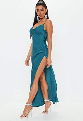 Missguided Teal Satin Cowl Maxi Dress