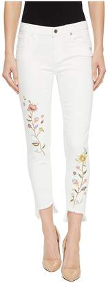 Miss Me Ankle Skinny Jeans w/ Embroidery in White Women's Jeans