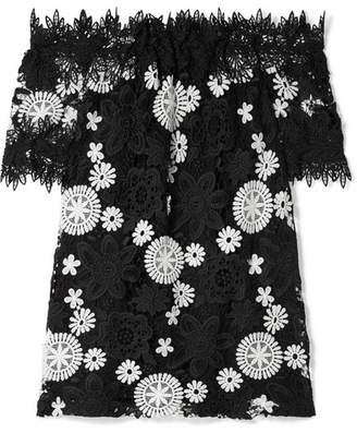 Naeem Khan Off-the-shoulder Two-tone Guipure Lace Top - Black