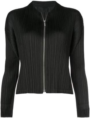 Pleats Please Issey Miyake pleated zip front blouse