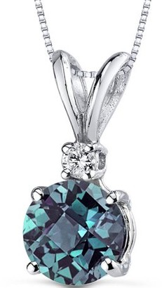 "Oravo 1.25 Carat T.G.W. Round-Cut Created Alexandrite Diamond Accent 14kt White Gold Pendant, 18"""