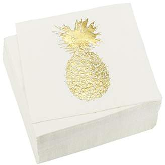 50 Pack Decorative Dinner Napkins - Disposable Paper Party Napkins with Gold Foil Pineapple