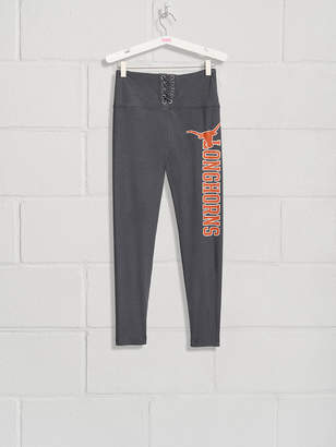 PINK University of Texas High Waist Lace-Up Fleece Lined Legging