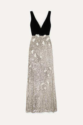 Monique Lhuillier Velvet And Embellished Tulle Gown - Silver