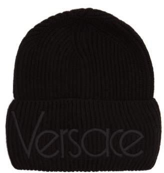 Versace Logo Embroidered Wool Beanie Hat - Mens - Black