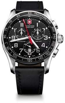Victorinox Chrono Classic XLS Stainless Steel& Leather Chronograph Strap Watch
