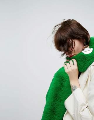 Asos Faux Fur Bright Green Scarf