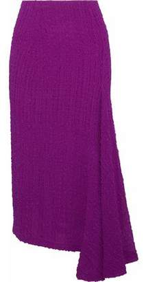 Victoria Beckham Draped Silk-Seersucker Skirt