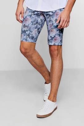 boohoo Skinny Fit Floral Print Tailored Shorts